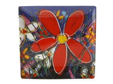 127220 Red Tangled Daisies 34 x 34cm 82034w